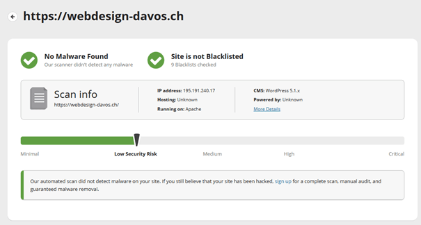 Security Check von WEBDESIGN-DAVOS auf Sitecheck